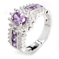 Wholesale White Gold Ring Amethyst - Princess Jewellery Fashion Amethyst men lady's 10KT white Gold Filled Ring sz6 7 8 9 10
