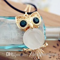 Wholesale Owl Woman Sweater - Lovely vintage Owl Sweater Double Chain Necklace Statement jewelry Accessories cute big Green Eye Owl l Pendant Necklaces For Women gifts