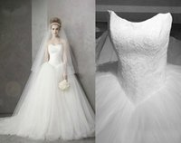 Wholesale Tulle Discount Wedding Dresses - Big Discount Strapless Neckline Lace Tulle Ball Gown Wedding Dresses Chapel Train Bridal Party Gowns 2015 Real Image