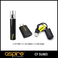 Wholesale Sub C Free Shipping - 100% Authentic Eigate 1pc Aspire CF SUB OHM Battery With 1pc Aspire USB Charger And 1pc Aspire A C Adaptor For E Cigarettes FREE Shipping