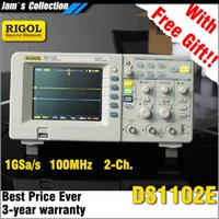 Wholesale RIGOL DS1102E MHz channels digital storage oscilloscope osciloscopio GSa s sampling oscillograph Mpts memory DS E