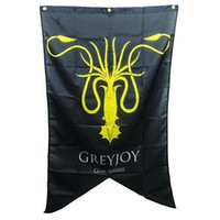 Wholesale Custom Licenses - HBO Game of Thrones XL 48 LICENSED House GREYJOY Kraken Sigil flag Custom USA Hockey Baseball College Basketball Flags