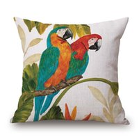 Wholesale Oil Paintings Blue Silver - Parrot Birds Flower Cushion Covers Cherry Tree Butterfly Oil painting Pillow Cover Linen Cotton Pillow Case Bedroom Sofa Decoration Gift