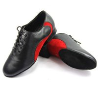 Wholesale New Men s Latin dancing shoes Genuine leather Soft bottom square dance shoes two colors Low heel big size