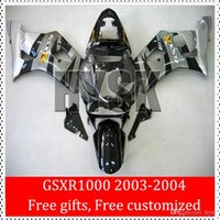 Wholesale Custom Sportbike Fairings - Sportbike Fairing Kits For Suzuki 2003 2004 GSXR1000 03 04 K3 Black Gray Fairings GSX-R1000 GSXR 1000 2003-2004 Free Custom Design