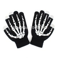 Wholesale Skeleton Touch Screen Gloves - Wholesale-New Style Winter Full Finger Unisex Ghost Bone Touch Screen Knit Skeleton Gloves Free Shipping