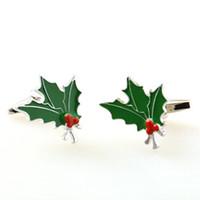 Wholesale Christmas Tree Cufflinks - Hot Selling New Christmas Series Cufflink- Christmas Tree Leaf- Green