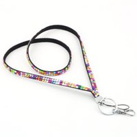 Ring Key Holder gros-1pcs strass cristal Bling personnalisé Lanyard ID Badge Cellphone