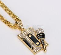 micrófono largo al por mayor-Mujeres para hombre Hip Hop Nightclub Cz cristal chapado en oro DJ Micrófono Colgantes Rhinestone Colgantes Collares Long Snake Chain hombres Rock Jewerlly