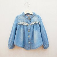 Wholesale Children Clothes Coat Blue Denim - The cheapest ! !Children One Piece!!Clothing Girls Coat Spring Girls Long-sleeved Denim Shirt T-shirt Coat Sand