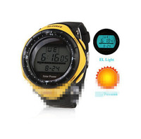 Atacado-Boys Sports Watch Solar Digital Poder Multi-Funcional Homens de borracha de silicone relógio de pulso banda Display LED Alarm Clock horas Masculino