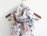 Wholesale Navy Blue Cotton Scarf - lassic Anchor Scarf Sailor Anchor Scarf Soft Navy Scarf with Red and Blue Ancho