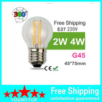 Wholesale replacement globe lighting for sale - Group buy 2W W E14 E12 E27 Socket G45 LED FILAMENT BULB REPLACEMENT WITH W TRADITIONAL LAMP K K Chip LED Bulb Light