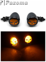 Wholesale Motorcycle Skull Turn Signal Lights - Black Motorcycle Skull Turn Signals lights For Harley Davidson Softail Cross Bones Deuce Rocker - Pazoma