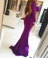 Wholesale Material Wristbands - Mermaid Evening Dresses With Long Sleeves Sexy Backless Elastic Material With Crystals Wristband Prom Dresses Long Formal Party Pageant Gown