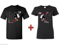Wholesale Kisses Shirt - Wholesale-Couple Matching T-SHIRT Mickey Minnie Kissing LOVE Tees Couple Crewneck Cute TEE 100% Cotton T Shirt For Men Women