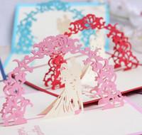 Wholesale 3d Bride Groom Invitation - 10pcs Hollow Bride and Groom Handmade Kirigami Origami 3D Pop UP Greeting Cards Invitation Postcard For Sweet Wedding