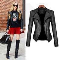 Wholesale Short Sleeve Leather Jacket Women - 2016 Autumn Winter new Women leather jackets Short PU jacket coat Black European style Slim leather jackets for women,D0706