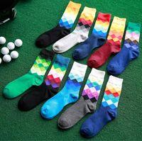 Wholesale Wholesale Ankle Socks Colored - Fashion tube stockings Mens colored diamond cotton Deodorant movement socks long socks sport male socks wholesales