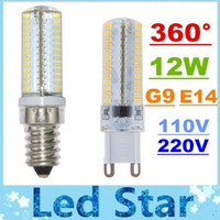 Wholesale G9 Led Cold White - CE ROHS + Super Bright 12W G9 E14 Led Bulbs Chandelier Lamp AC 110V 220V 104 Leds SMD 3014 Led Crystal Lamp Warm Cold White 360 Angle