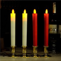 Wholesale Golden Shake - Pair Of Long Pole Simulation Shaking Fire Candle With Golden Holders Abs Material Led Candles For Wedding Home Decoration