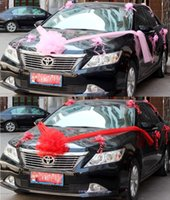 Wholesale wedding cars flowers set - Wholesale- Free shipping,wedding car flower decoration set red pink purple main flower+10pcs organza pull flower, house decoration