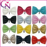 "Wholesale black bow hair clip - 36Pcs lot 12COLORS 3"" Baby Mini Leather Hair Bow Solid Color Hair Bows For Girl Handmade Leather Hair Accessories Hair Clips CNHBW-14120904"