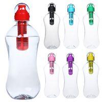 quadratische milchflaschen großhandel-1 stücke, 7 Farben, 550 ml Outdoor Tragbare Multifunktionale Camping Kunststoff PE Trinkfilter Sport Trinkflasche 310375-H