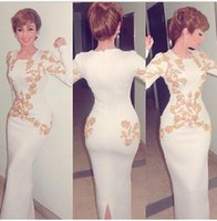 Wholesale Evening Purple Memaid Dress - Hot Selling Arabic Evening Dresses 2015 Ivory Memaid Party Dress with Gold Embroidery Crew Neck Long Sleeve Fashio Prom Dress Floor Length