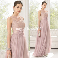 Wholesale Miss Rose Make Up - 2015 Dusty Rose Lace Prom Evening Dresses Sheer Lace Back A-Line Bateau Hand made flowers Long Formal Evening Gowns Dress for Party BB
