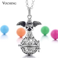 Wholesale Cage Double - VOCHENG Pregnancy Ball Double Wings Angel Maternity Necklace Cage Pendants Lucky Necklace for Women with Stainless Steel Chain VA-094