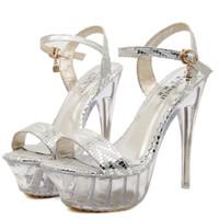 Wholesale Beige Dance Shoes - Plus Size 40 41 42 43 Sexy Women Dance Shoes Party Club Wedding Shoes High Heel Sandals Silver Gold