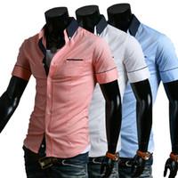 Wholesale Shirts Cotton Short Men - Summer Fashion Wild Men Short Sleeve Business Shirts Indian Breif Style Cotton Slim Fit Sale Men Dress Shirts Single Pocket Shirts J160217