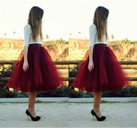 Wholesale Dark Green Tutu Women - Dark Red Tutu Formal Skirt For Women Knee Length Full Tutu Skirts Maxi Skirt Plus Size Party Dresses Women Skirt Burgundy Dresses