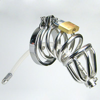 Wholesale Cock Chastity Tubes - Chastity Belt Double Cock Rings Chastity Cage Silicone Tube BDSM Cock Lock Urethral Chastity Devices Male Chastity Spikes Urethral Sounding
