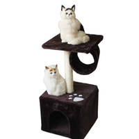 Wholesale pet cat tree - Durable Cat Houses With Fitness Roller Bold Hemp Rope Cats Climbing Frame Short Plush Pet Tree Toys High Quality 49zf B