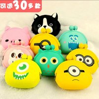 New Fashion Lovely Kawaii Candy Color Cartoon Animal Femmes Femmes Portefeuille Multicolor Jelly Silicone Coin Bag Purse Kid Gift