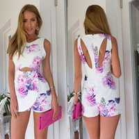 Wholesale Short Mini Rompers - Sexy Shorts Jumpsuit Sleeveless Tank Playsuit Women Sexy Bodysuit Floral Printed Mini Rompers Summer Macacao Frminino S9045