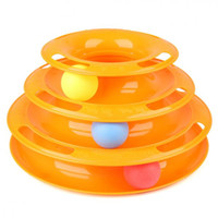 Wholesale Pet Cat Interactive Toy Amusement Plate Trilaminar Crazy Ball Disk Orange