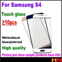 Wholesale replacement glass galaxy s4 - 10pcs New Touch Glass For Samsung Galaxy S4 I9500 i9505 i337 For Front Screen Glass Lens Black White With Free Shipping Replacement Repair