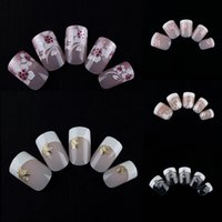 Wholesale Short Fake Nails - WHOLESALE MIXED 5 Sets Lot (24pcs set) Short Full French False Nails Fake Fingernails Acrylic Nail Art Artificial Nail Tips Manicure