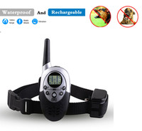 Wholesale Remote Electric Pet Training Collar - 2016 New 1000M Waterproof Rechargeable LCD Remote Pet Dog Training Collar Electric Shock Control Mascotas Vibrador Anti Free Shipping