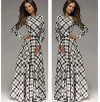 Wholesale Bohemia Silk Dress - Women Sexy Bohemia Long Dresses Evening Party Fashion Dress Long Sleeve Stripe 2015 Autumn Winter Slim A Full-Length Dresses CC-412-3