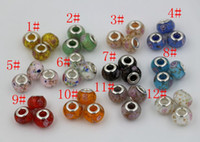 Wholesale Large Hole Glass Beads Wholesale - Hot ! 100Pcs 17 style Lampwork lampwork Glass Large Hole Beads Sparkly White   Pink & Green DIY Jewelry