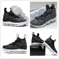 Wholesale Patent Color - (With box)2017 AAA+ Quality Men Basketball Shoes New Lebron 15 Sports Shoes Black Grey Mens Trainer Comfortable Sneakers New Color US 7-12