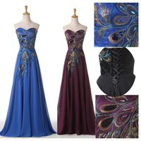 Wholesale Strapless Peacock Embroidery - Elegant Long Peacock Embroidery Dresses Party Evening Gowns 2015 Sweetheart Chiffon Lace-up Court Train Formal Plus Size Prom Dress