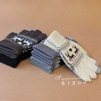 Wholesale Touch Gloves Deer - Wholesale-Free shipping Christmas Deer Jacqurad Gloves Winter Unisex gloves Christmas Gift Fashion Touch Screen Smart Phone gloves G70
