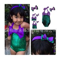 Wholesale Swimsuit Pcs - Fashion new children swimsuit girls mermaid swimwear kids bow headbend + bows swimwear 2 pcs sets A7615
