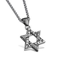 Wholesale Jewelry Point Star Pendant - Six-Pointed Star Retro Pendant Popular Titanium Steel Women Men Personality Necklace Jewelry Classical Design Birthday Present