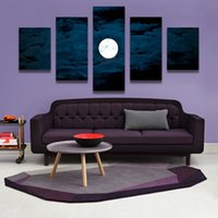 Wholesale Moon Cartoon Pictures - 5PCS Home Decor Canvas Wall Art Decor Painting MOON AT NIGHT Wall Picture Canvas Art Print from Photo on Canvas for the Home